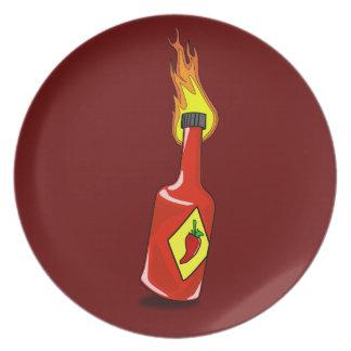 Salsa caliente del dibujo animado plato