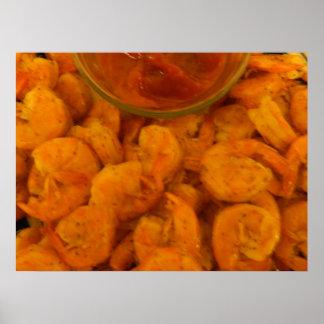 Salsa cocida al vapor del camarón y de cóctel póster