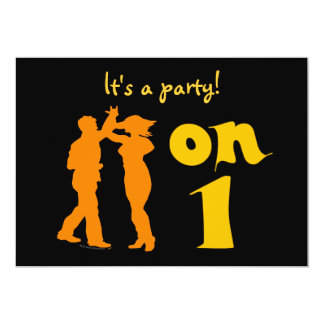 """Salsa Dancers On One Dance Party Invites 5"""" X 7"""" Invitation Card"""