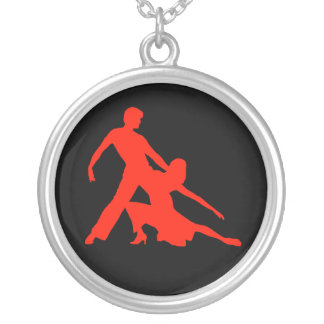 Salsa Dancers Silhouette Round Pendant Necklace