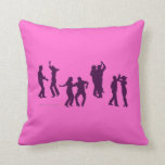 Salsa Dancers Silhouettes Pink Custom Throw Pillow