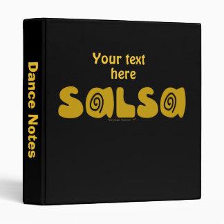 Salsa Dancing Gold Swirls Customizable 3 Ring Binder