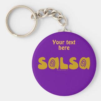 Salsa Dancing Gold Swirls Customizable Basic Round Button Keychain