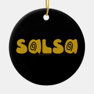 Salsa Dancing Gold Swirls Customizable Double-Sided Ceramic Round Christmas Ornament
