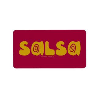 Salsa Dancing Gold Swirls Customizable Label