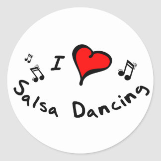 Salsa Dancing I Heart-Love Gift Round Stickers