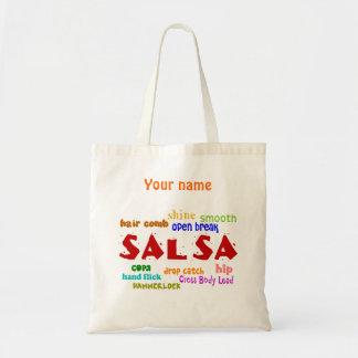 Salsa Dancing Lovers Dance Custom Name Reusable Budget Tote Bag