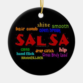 Salsa Dancing Lovers Dance Moves and Terms Double-Sided Ceramic Round Christmas Ornament