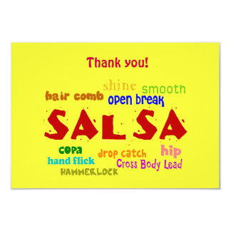 Salsa Dancing Lovers Dance Moves and Terms 3.5x5 Paper Invitation Card