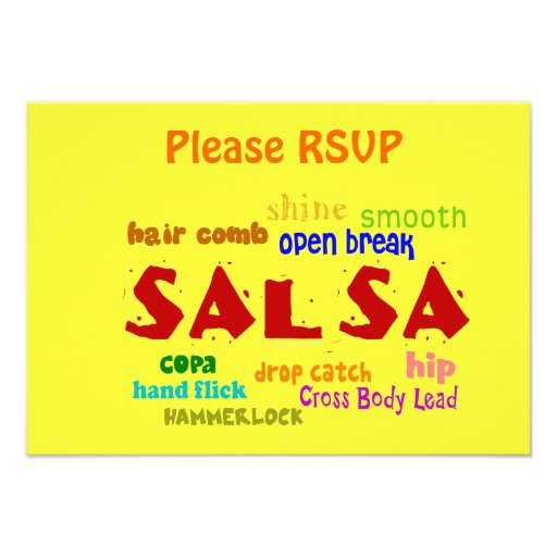 Salsa Dancing Lovers Dance Moves and Terms Custom Invites