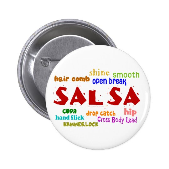 Salsa Dancing Lovers Dance Moves and Terms Pinback Button
