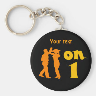 Salsa Dancing On One Silhouettes Customizable Basic Round Button Keychain