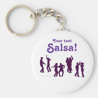 Salsa Dancing Poses Silhouettes Custom Basic Round Button Keychain