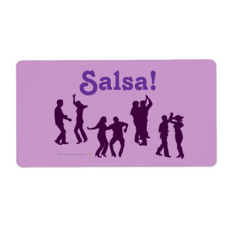 Salsa Dancing Poses Silhouettes Custom Custom Shipping Label