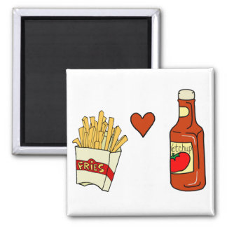 Salsa de tomate del amor de las patatas fritas imán cuadrado