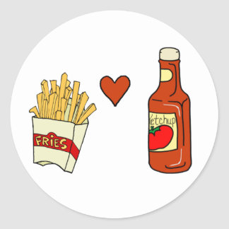 Salsa de tomate del amor de las patatas fritas etiquetas redondas