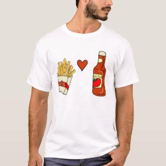 Salsa de tomate del amor de las patatas fritas playera
