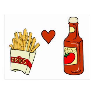 Salsa de tomate del amor de las patatas fritas postal