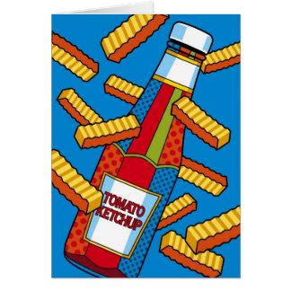 Salsa de tomate del arte pop que piensa en usted tarjeta de felicitación