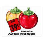 Salsa de tomate del kitsch del vintage y dispensad postal