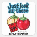 Salsa de tomate del kitsch del vintage y calcomania cuadradas