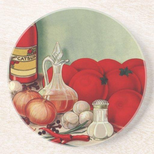 Salsa de tomate italiana de las pimientas de las posavasos diseño