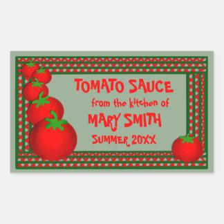 Salsa de tomate o etiquetas de encargo de Marinara Pegatina Rectangular