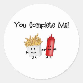 ¡Salsa de tomate y fritadas! Pegatina Redonda