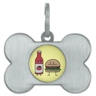 Salsa de tomate y hamburguesa felices placas de mascota
