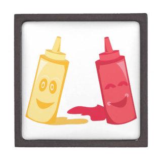 Salsa de tomate y mostaza caja de recuerdo de calidad