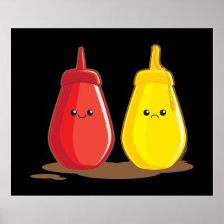 Salsa de tomate y mostaza impresiones