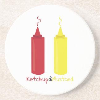 Salsa de tomate y mostaza posavasos diseño