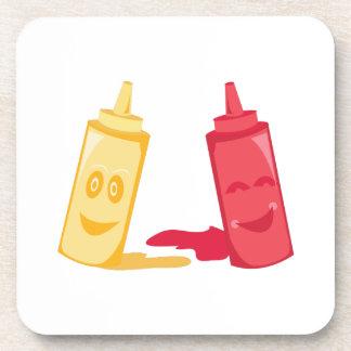 Salsa de tomate y mostaza posavasos de bebidas