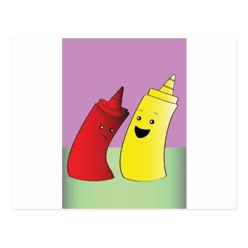 Salsa de tomate y mostaza tarjetas postales