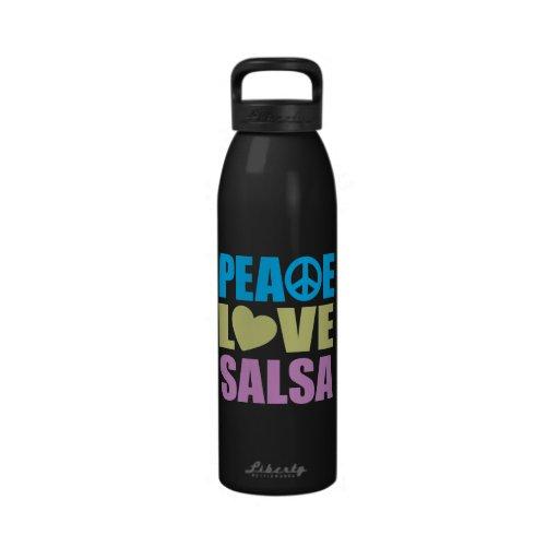 Salsa del amor de la paz botallas de agua