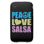 Salsa del amor de la paz tough iPhone 3 protectores