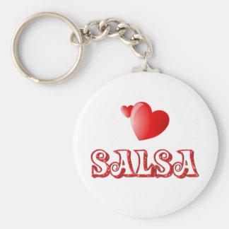 Salsa Hearts Basic Round Button Keychain