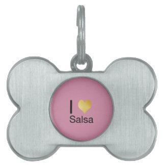 Salsa juguetónamente elegante del corazón de I Placa Mascota
