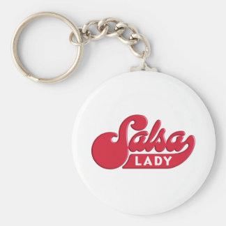 Salsa-Lady Basic Round Button Keychain
