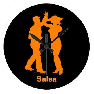 Salsa Latin Dance Couple Spin Wall Clock Black