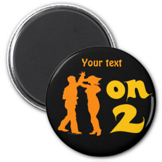 Salsa On Two Dancing Silhouettes Customizable 2 Inch Round Magnet