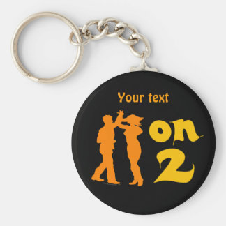 Salsa On Two Dancing Silhouettes Customizable Basic Round Button Keychain