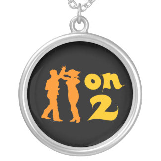 Salsa On Two Dancing Silhouettes Customizable Necklaces