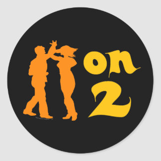 Salsa On Two Dancing Silhouettes Customizable Round Stickers
