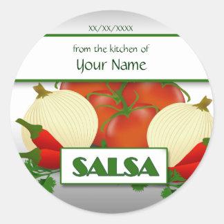 Salsa que conserva la etiqueta de encargo del pega