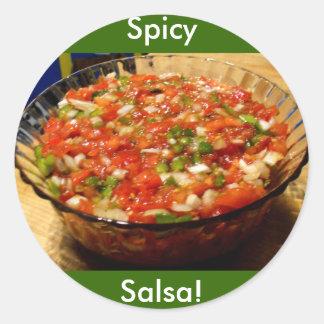 Salsa recién hecha pegatina redonda