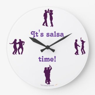 Salsa Time Dance Poses Silhouettes Wall Clock