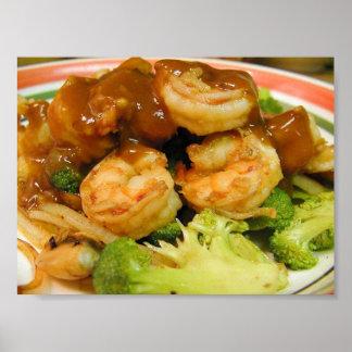 Salsas de Brocolli del camarón de Teriyaki Póster