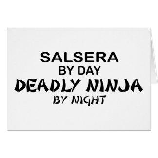 Salsera Ninja mortal por noche Tarjeta De Felicitación