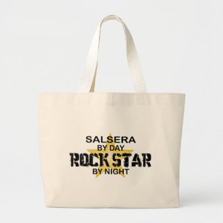 Salsera por el día, estrella del rock por noche bolsa de tela grande